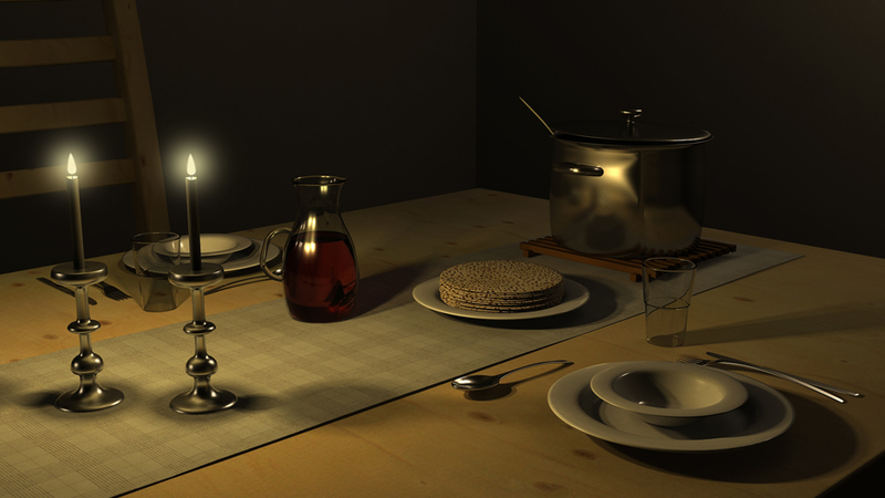 Interior: Dining table