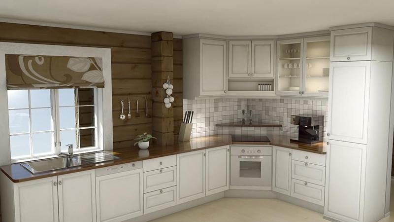 Laftet hytte - Kjøkken
