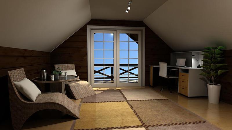 Laftet hytte - Loftstue